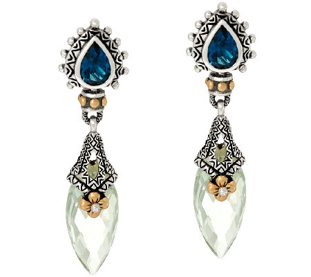 Barbara Bixby Sterling & 18K 9.90 cttw Gemstone Drop Earrings