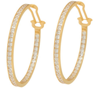 "Diamonique 4.30 cttw 1-1/2"" Round Hoop Earrings 14K Clad - J329165"