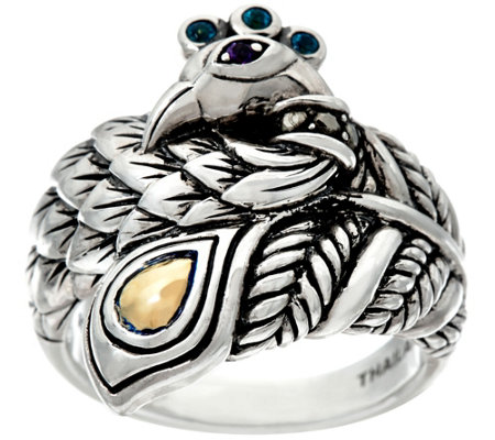 JAI Sterling & 14K Yellow Gold Gemstone Accent Peacock Ring