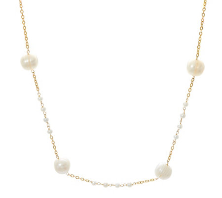 "Honora 14K Gold Cultured Pearl 16"" Station Necklace"