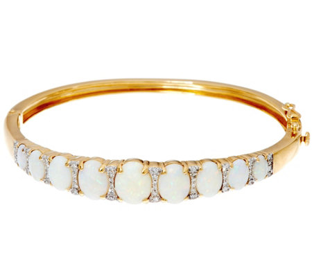Australian Opal & Diamond Average Hinged Bangle, 14K 1/3 cttw