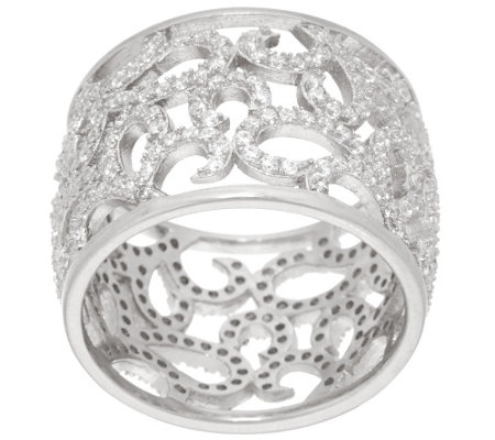 """As Is"" Italian Silver Sterling Crystal Scroll Design Band Ring"