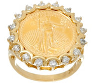 14K/22K Gold Liberty Coin and Diamond Ring, 5/8 cttw