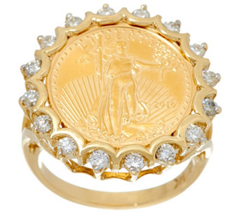 14K/22K Gold Liberty Coin and Diamond Ring, 5/8 cttw - J331565