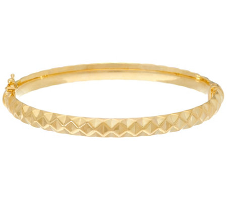 "Dieci 6-3/4"" Pyramid Design Oval Hinged Bangle 10K Gold, 5.1g"