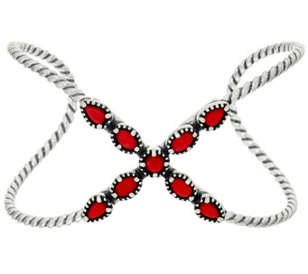 """As Is"" Carolyn Pollack Sterling Silver Red Coral X Cuff - J332865"