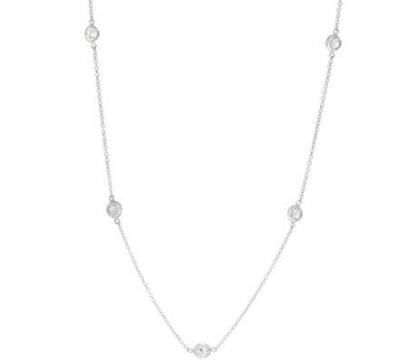 Diamonique by the Yard Adjustable Necklace Platinum Clad