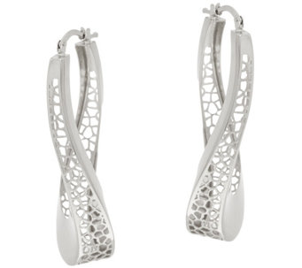 """As Is"" Vicenza Silver 1-3/4"" Twisted Cut-out Hoop Earrings - J333265"