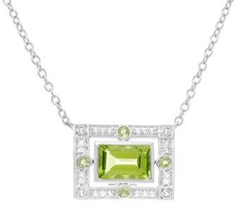 """As Is""Jane Taylor Emerald Cut Gemston Sterling Necklace - J334665"