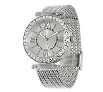 Stainless Steel Mesh Strap Watch with Crystal Bezel Design - J335365