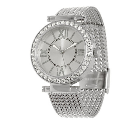 Stainless Steel Mesh Strap Watch with Crystal Bezel Design