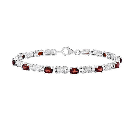 "Sterling 7-1/2"" Choice of Gemstone X-Link Tenni s Bracelet"