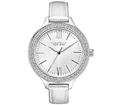 Caravelle New York Women's Silvertone Leather Band Watch
