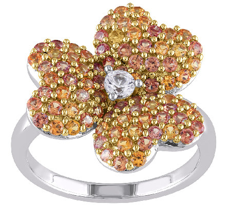 Sterling Created Yellow & White Sapphire FlowerRing