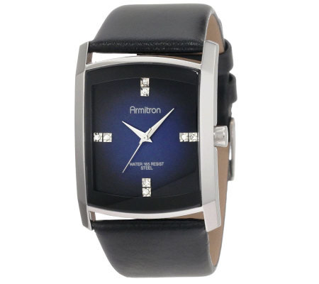 Armitron Men's Crystal & Blue Dial Leather Strap Watch