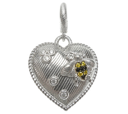 Judith Ripka Sterling Textured Heart Charm withBee Accent