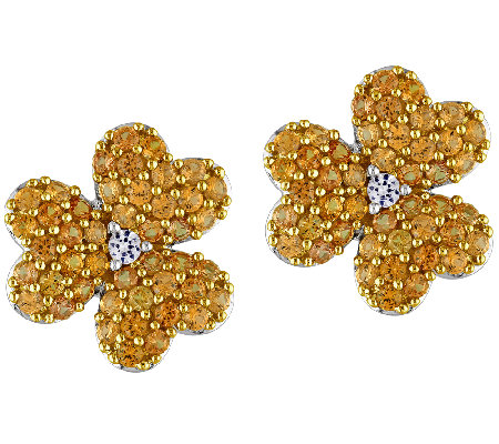 Simulated Yellow Sapphire Flower Stud Earrings,Sterling