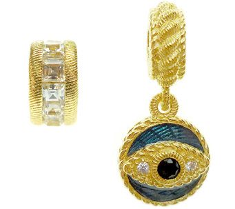 Judith Ripka Sterling 14K Clad Evil Eye and Rondel Charms - J339765