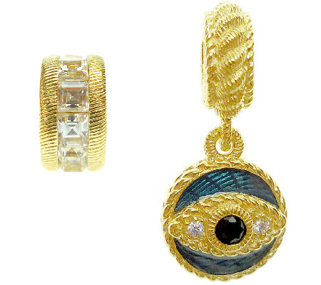 Judith Ripka Sterling 14K Clad Evil Eye and Rondel Charms