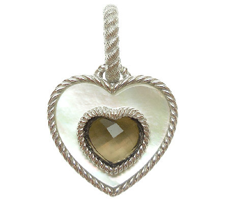 Judith Ripka Sterling MOP & Smoky Quartz HeartCharm