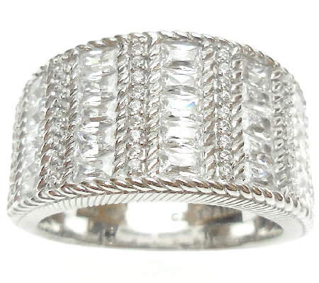 Judith Ripka Sterling 2.25cttw Diamonique & Textured Ring