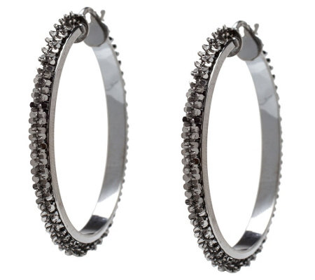 Italian Silver Sterling Margherita Chain Round Hoop Earrings