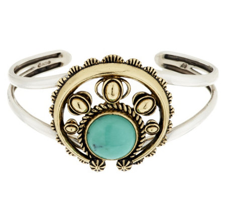 American West Sterling/Brass Turquoise Naja Cuff