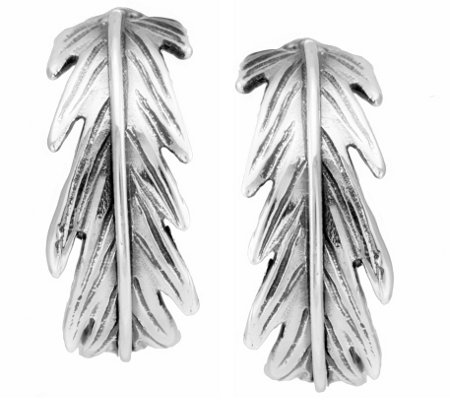 "Hagit Sterling 3/4"" Feather Hoop Earrings"