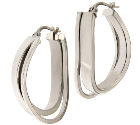Italian Silver Sterling Polished Double Twist H oop Earrings