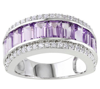 Sterling 2.85 cttw Amethyst & Simulated White Sapphire Ring - J342165