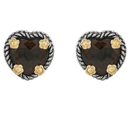 Sterling and 14K Yellow Gold Heart Gemstone Earrings