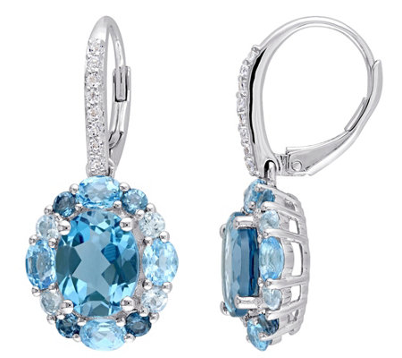 Sterling 7.90 cttw Blue and White Topaz Earrings