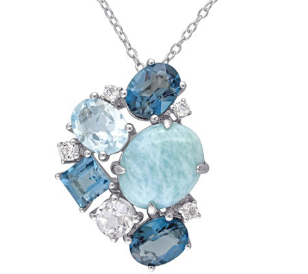 Sterling Larimar and 6.30 cttw Topaz Pendant with Chain