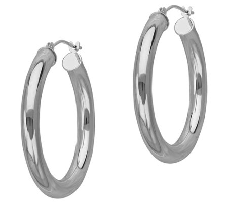 "EternaGold 1"" Polished Round Hoop Earrings, 14K"