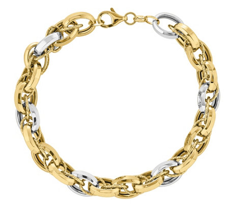 "14K Gold Two-Tone Oval Link 8"" Bracelet"