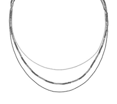 "Sterling & Ruthenium-Plated Beaded 18-1/4"" Necklace"