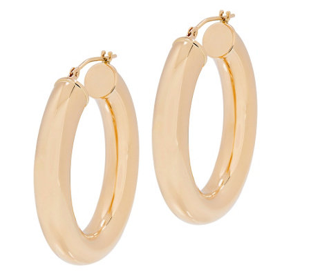 EternaGold Polished Oval Hoop Earrings, 14K Gold