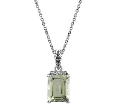2.95 ct Green Amethyst & White Topaz Accent Pendant w/ Chain