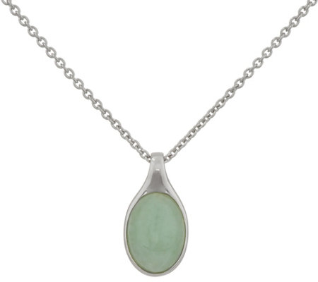 "Burmese Jade Oval Sterling Silver Pendant on 18"" Chain"