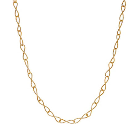 "Italian Gold 24"" Diamond Cut Infinity Link Necklace, 14K Gold 3.3g"