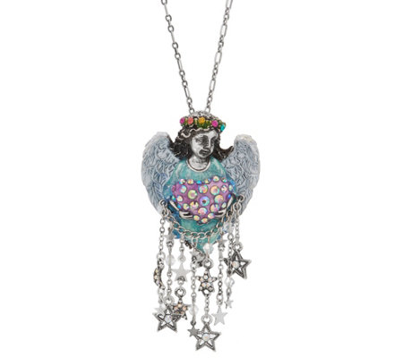 Kirks Folly Celestial Angel Heart Pin Pendant with Chain