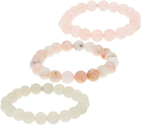 Set of 3 10.0mm Gemstone Bead Stretch Bracelets