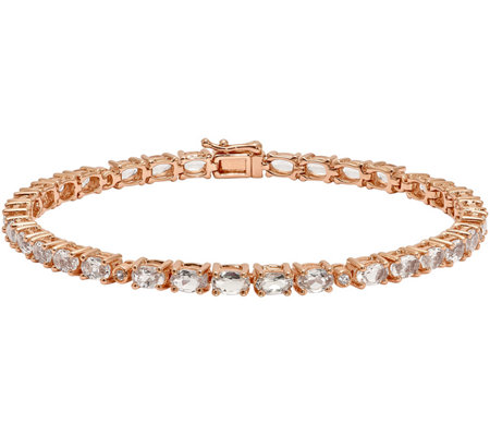 "Sterling 6.35 cttw Morganite & Crystal 7-1/2"" Bracelet"
