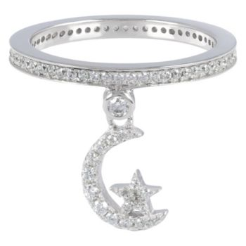 Diamonique Moon & Star Dangle Charm Ring, Sterling