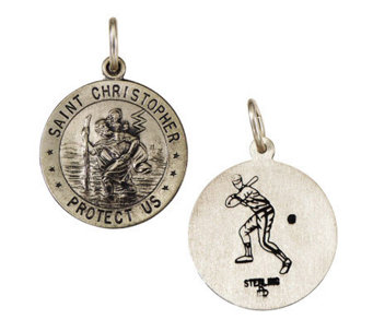Sterling Saint Christopher/ Baseball Sport Figure Medal Charm - J108266