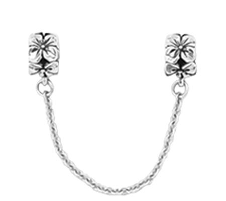 Prerogatives Sterling Silver Security Chain Floral Bead