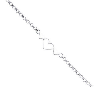 "Sterling 10"" Polished Triple-Heart Anklet - J111366"