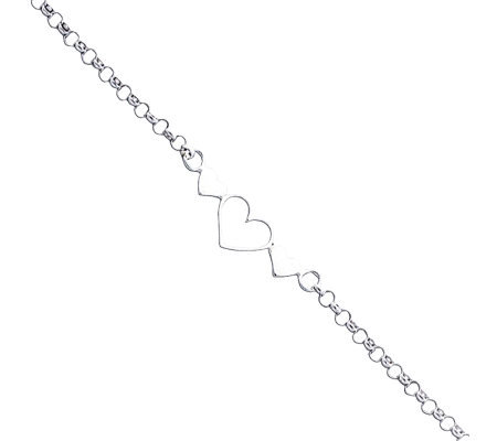 "Sterling 10"" Polished Triple-Heart Anklet"