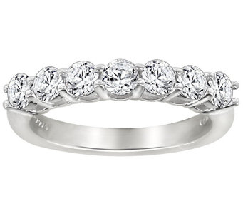 Diamonique 7 Stone Anniversary Band Ring, Platinum Clad - J111666