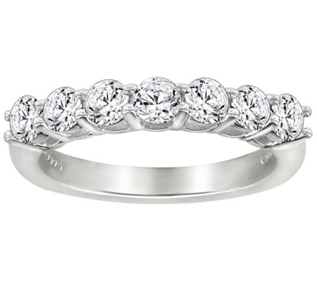 Diamonique 7 Stone Anniversary Band Ring, Platinum Clad